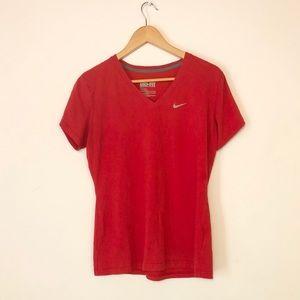 Nike red v-neck dri fit tshirt